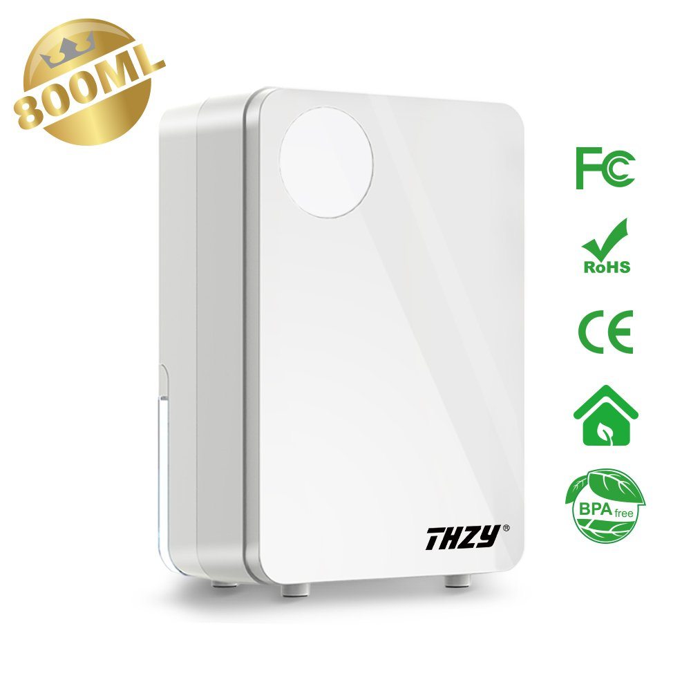 THZY I900031 Small, Ultra Quiet Thermo-Electric Dehumidifiers with 800ml (33 oz) Tank, Portable for Damp Air, Mold, Moisture in Home, Kitchen, Bedroom, Basement, Caravan, Office, Garage Water, White