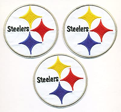 Lot of 3 Pittsburgh Steelers Logo Football NFL Embroidered Iron On Patches Hat Jersey