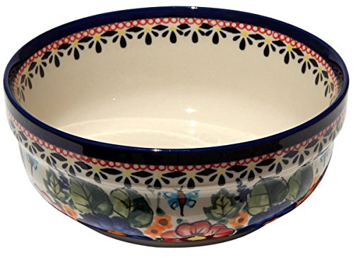 Polish Pottery Bowl 6 Inch From Zaklady Ceramiczne Boleslawiec #833-149 Art Unikat Signature Pattern, Height: 2.5
