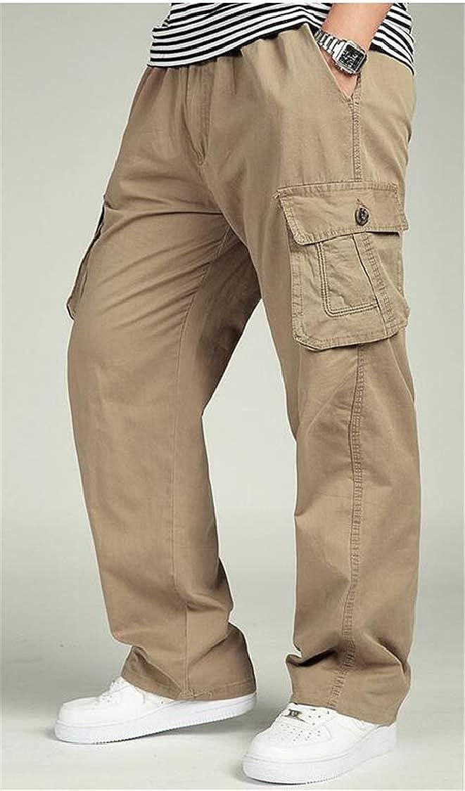 pipigo Men Outdoor Cargo Loose Sport Multi Pockets Trousers Pants
