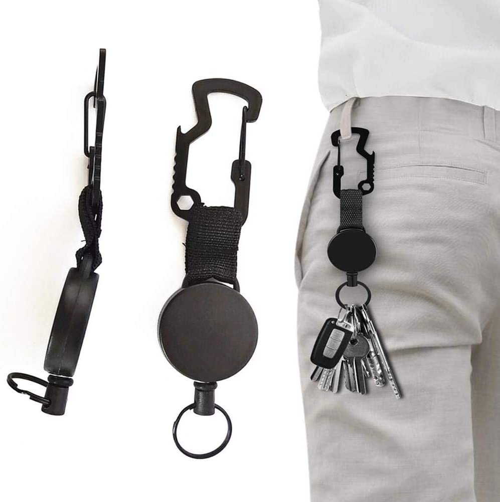 Retractable Key Chain Multifunction Carabiner Buckle With Steel Cable Funsquare 2PCS Retractable Keyring Extendable Key Chain