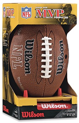 Wilson NFL MVP Junior Football with Pump and Tee, Brown WTF1414PT