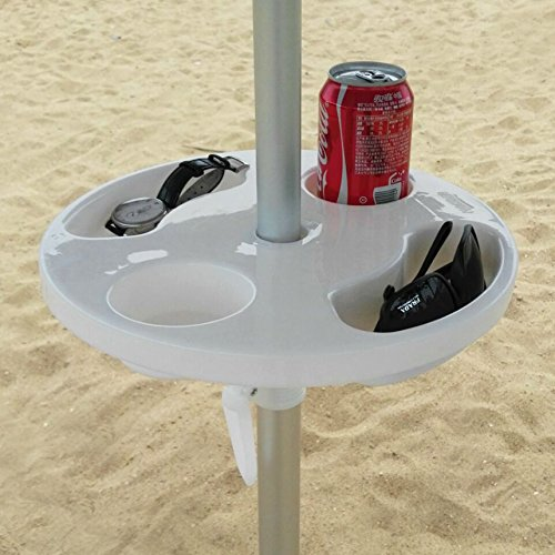 """Product Features:  Ammsun 2017 12 Inch Plastic round Beach Umbrella Table with Cup Holders Best size, White  Best size, fits beach umbrella poles from 0.98"""" to 1.26"""" diameter,suitable area for personal accessories.  Dimensions: 12""""*12""""*1.97"""" ..."""