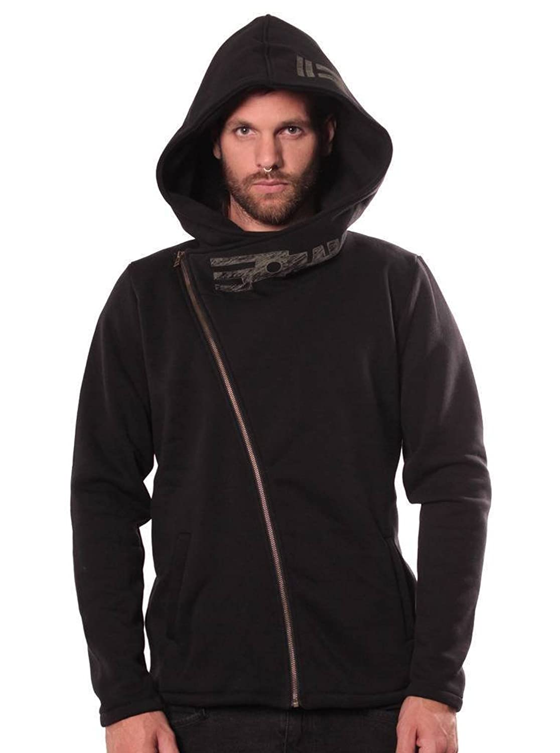 71f1c1bf6 This unique urban clothing artistic printed tribal hoodie with diagonal  zipper and oversized hood is made of 80% cotton and 20% poly.