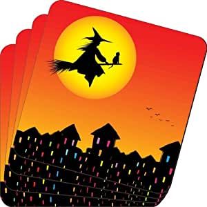 Rikki Knight Halloween Witch on Broomstick Silhouette Design Soft Square Beer Coasters (Set of 2), Multicolor