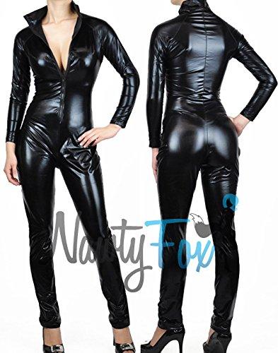 Nawty Fox Black Metallic Wet Look Fetish Bodysuit Catsuit Costume XL -