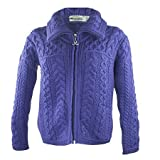 Irish Merino Wool Double Collar Zipper Aran Sweater, Violet L