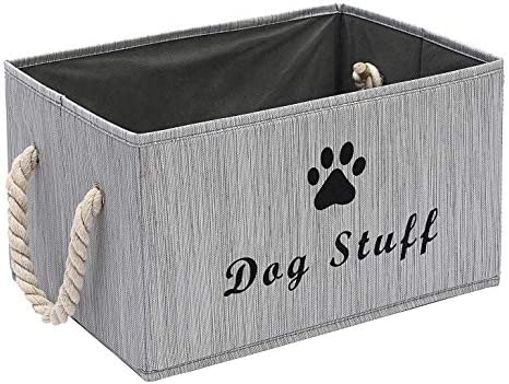 Large Fabric Storage Bins Organizer with Cotton Rope Handle, Collapsible Cube Basket Container Box for Dog Apparel Accessories, Dog Coats, Dog Toys, Dog Clothing, Dog Dresses, Gift Baskets