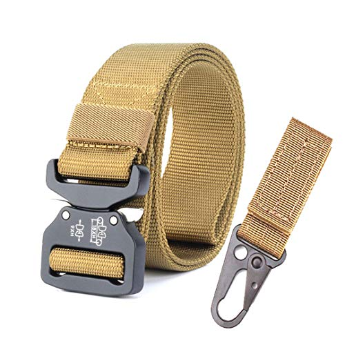 (OutdoorZhShi Heavy Duty Tactical Military Nylon Belt Metal Buckle Men Army Combat Special Forces Training Hunting ty Belt with Hang buckle1 120cm)