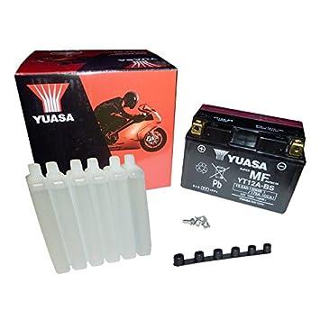 YUASA BATERIA YT12A-BS AGM abierto - con paquete de ácido: Amazon.es: Coche y moto