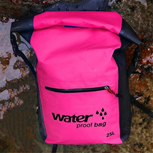 Tmrow 1pc 25L Waterproof Backpack Dry Bags PVC Tarpaulin Large Roll Top Sack with Zipper Pocket and Shoulder Strap for Fishing Camping Boating Hiking Kayaking Rafting,Pink by Tmrow