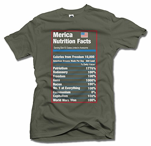 MERICA NUTRITION FACTS XL Military Green Men's Tee (6.1oz)
