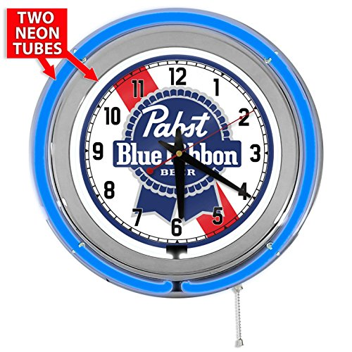 "Pabst Blue Ribbon 15"" Blue Double Neon Garage Clock, used for sale  Delivered anywhere in USA"