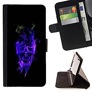 For Samsung Galaxy S6 EDGE (NOT S6) Case , Cráneo llameante azul- la tarjeta de Crédito Slots PU Funda de cuero Monedero caso cubierta de piel