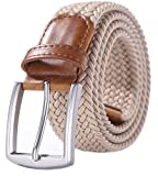 Weifert Men's Stretch Woven 1.3'' Wide Elastic Braided Belts (34-37, Khaki)