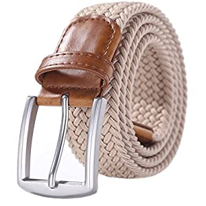 Weifert Men's Stretch Woven 1.3″Wide Elastic Braided Belts