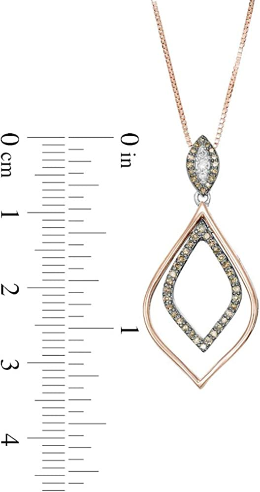 1//4 CT Sim Champagne /& White Diamond Double Marquise Outline Pendant In 925 Sterling Silver /& 10K Rose Gold Plated T.W