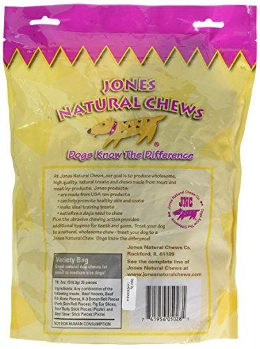 Image of Jones Natural Chews Co. 090-05028 Jones Natural Chews All Natural Assorted Variety Bag 20 pk Zipper Bag