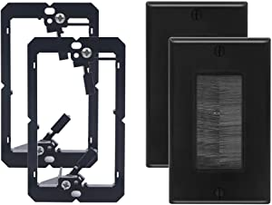 VCE 2 Pack Single Brush Wall Plate with Single Gang Low Voltage Mounting Bracket Cable Pass Through Insert for Wires, Single Gang Cable Access Strap, Wall Socket for HDTV, Home Theater Systems