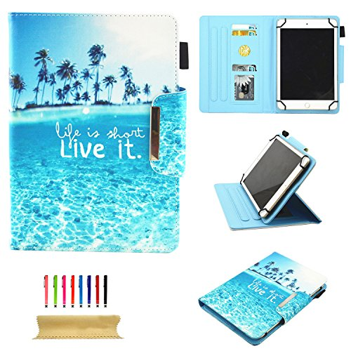 se for All 9.5-10.5 inch Touchscreen Android Tablet, Slim Stand Folio PU Leather Wallet Cover with Card Slots & Pencil Holder for Kindle Samsung Apple ipad Tablet,ECT, Beach ()