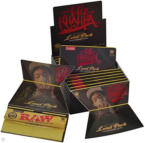 Raw Wiz Khalifa Artesano Style - Loud Pack King Size Slim Classic Rolling Papers + Tips Tray (New Product From ) 6 Booklets By - Style Wiz Khalifa