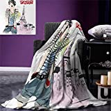 Eiffel Tower Digital Printing Blanket Sketch of Fancy Laughing Girl in Front of Eiffel Tower Paris Happiness Stain Summer Quilt Comforter 80''x60'' Multicolor
