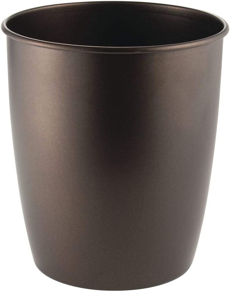 mDesign Round Metal Small Trash Can Wastebasket, Garbage Container Bin for Bathrooms, Powder Rooms, Kitchens, Home Offices - Steel - Bronze