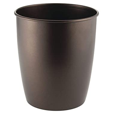 mDesign Round Metal Small Trash Can Wastebasket, Garbage Container Bin for Bathrooms, Powder Rooms, Kitchens, Home Offices - Durable Steel - Bronze