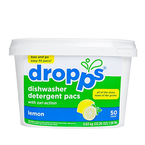 Dropps Oxi-Action Dishwasher Detergent Packs, Lemon, 50