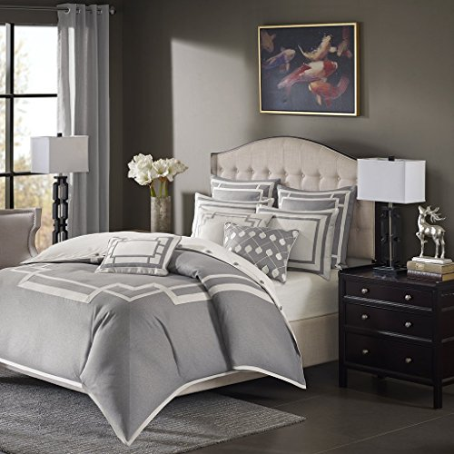 Pieced Jacquard Comforter - Madison Park Signature Savoy King Size Bed Comforter Duvet 2-In-1 Set Bed In A Bag - Grey , Geometric - 9 Piece Bedding Sets - Ultra Soft Microfiber Bedroom Comforters (Renewed)