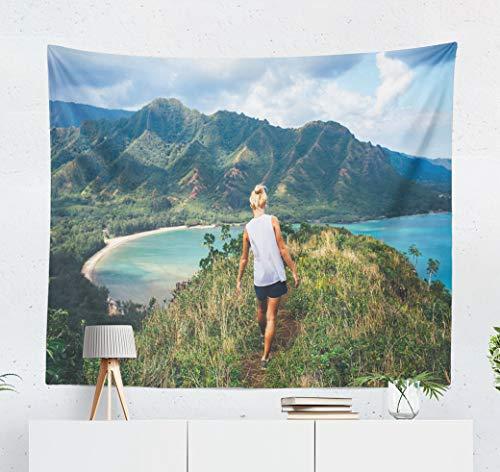 Summor Tapestry Ocean Classic Hawaiian Hawaii Adventure Travel Vacation Girl Woman People Art Nature Home Decorations for Living Room Bedroom Dorm Decor 60 x 50 Inch