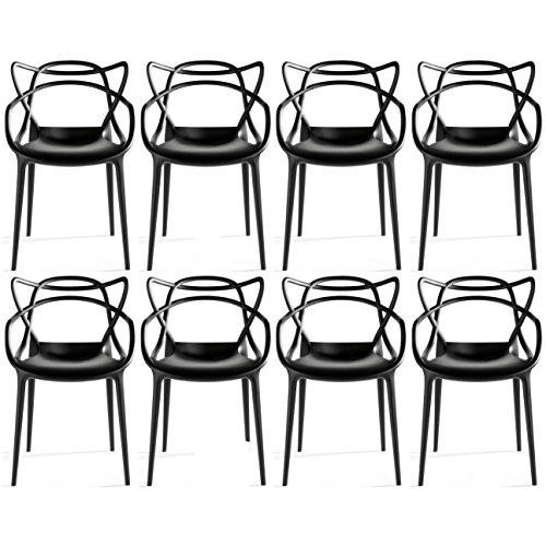2xhome Set of 8 Dining Room Chairs - Modern Contemporary Designer Designed Popular Home Office Work Indoor Outdoor Armchair Living Family Room Kitchen Bed Bedroom Porch Patio Balcony Arm Chair