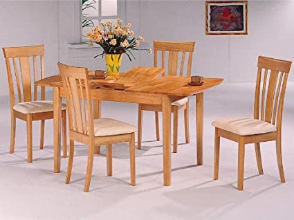Image Unavailable Not Available For Color 5pc Natural Finish Butterfly Leaf Dining Table