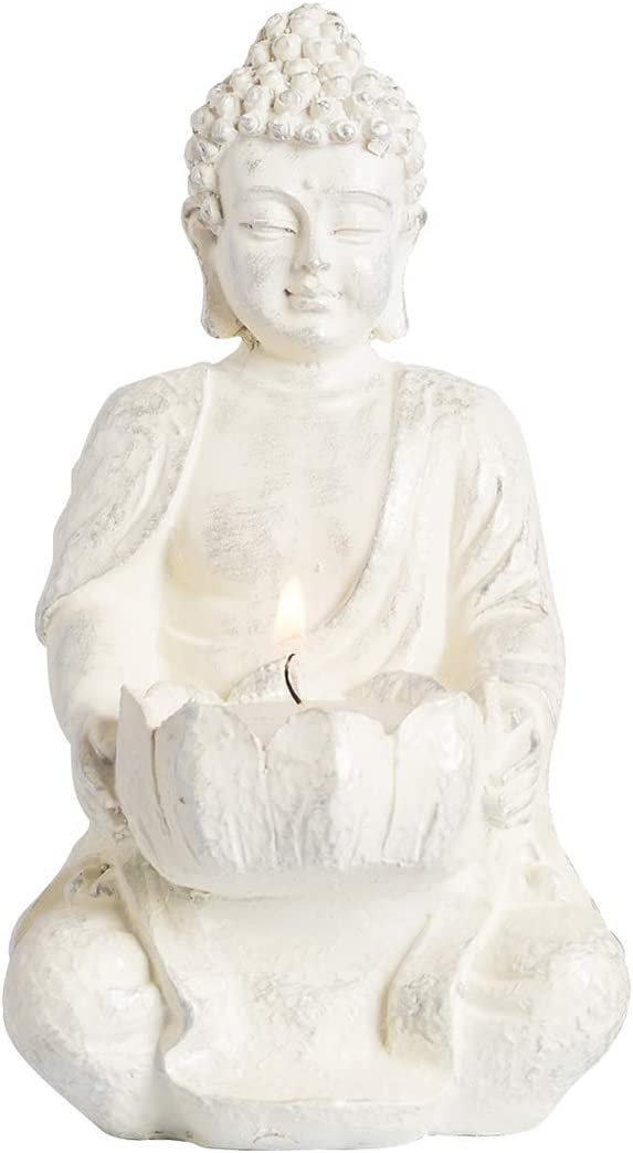 1 PCS Meditating Buddha Statues Home Decoration ,Stone Buddha Tealight Holder for Home/Garden Buddha Decor, Antique Gold/White Look (White)