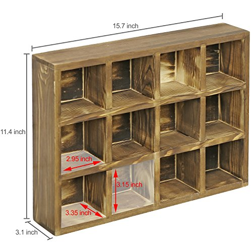 12 Compartment Torched Wood Freestanding or Wall Mounted Shadow Box, Display Shelf Shelving Unit by MyGift (Image #6)