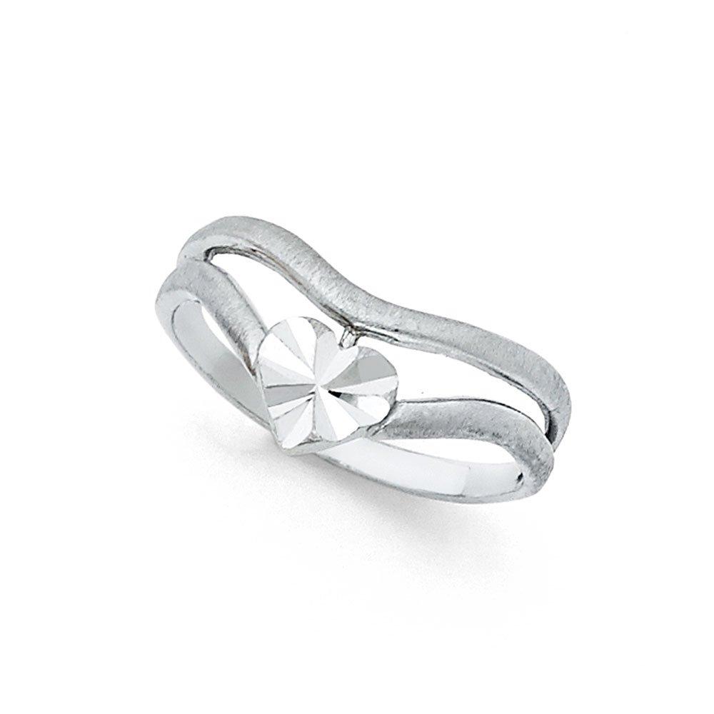 14K Solid White Gold Heart V Shaped Thumb Ring Ioka