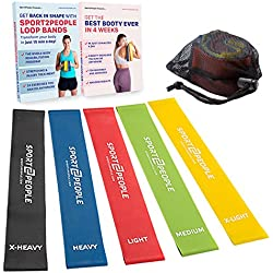 Sport2People Exercise Resistance Loop Bands for Booty Building with 2 Workout E-Books for Strength Training and Physical Therapy - Fitness Loops for Hips and Leg - Set of 5 Levels - Natural Latex