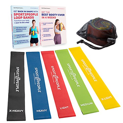 Resistant Band Exercise - Exercise Resistance Bands with Huge Workout E-Book. Best Stretch Loops from Natural Latex, 42% Stronger. Heavy Elastic Booty Band Set for Legs, Fitness and Strength Training. Physical Therapy Equipment