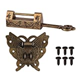 GTHER Chinese Carved Flower Bird Vintage Lock with Key & Butterfly Latch Hasp & Screws for Cabinet Jewelry Box Gift Box