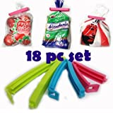 Darzee 6 Pc 3 Different Size Plastic Food Snack Bag Pouch Clip Sealer for Keeping Food Fresh for Home Kitchen Camping Snack Seal Sealing Bag Clips (Multi Color)