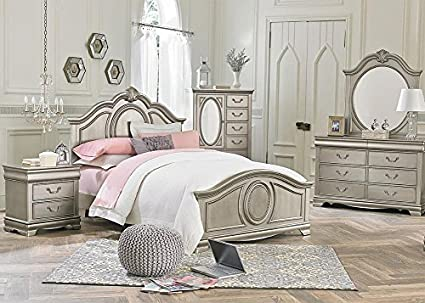 Attirant Jessica Silver 5 Pc. Full Bedroom Furniture Set