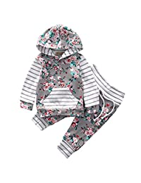 Newborn Baby Girls Clothes Floral Hooded T-Shirt Tops Striped Pants Outfits Set