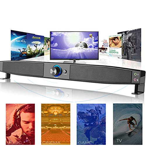 Sound Bar,TV Bluetooth Speaker Portable Dual Loudspeakers Intelligent Compatibility AUX, for TV, PC, Cell Phone, Tablets Projector(Support 3.5 mm Audio in)