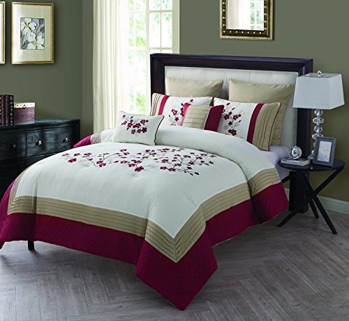 VCNY Home Cherry Blossom Polyester 7 Piece SUPER SOFT Comforter Set, Wrinkle Resistant, Hypoallergenic, Full/Queen, (Full Quilt 7 Piece)