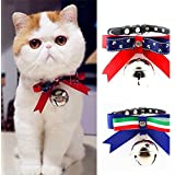 2 pcs/Big Bell dog bow collar with tracker, pet collars personalized adjustable size, suitable for dogs, cats and other pets