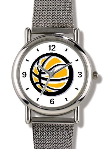 Basketball - Basketball Theme - WATCHBUDDY ELITE Chrome-Plated Metal Alloy Watch with Metal Mesh Strap-Size-Large ( Men's Size or Jumbo Women's Size ) by WatchBuddy