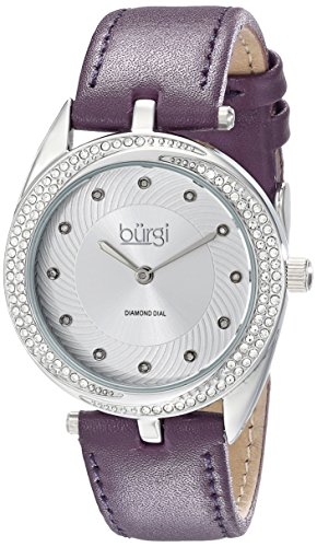 Burgi Women's BUR122PU Diamond & Crystal Accented Swirl Design Silver and Purple Leather Strap Watch