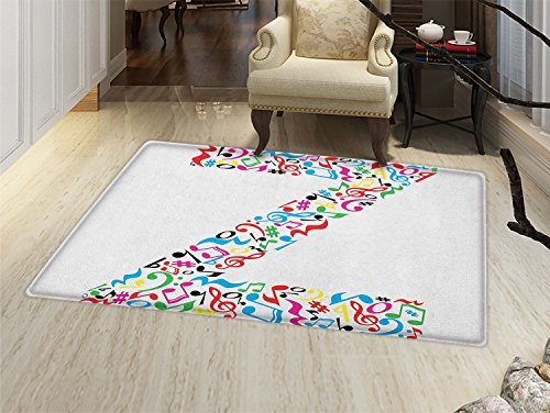 smallbeefly Letter Z Door Mat indoors Collection of Vibrant Musical Signs and Notes in Shape of Capital Z Alphabet Font Customize Bath Mat with Non Slip Backing - Notes Capital