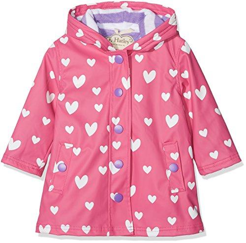 Hatley Little Girls' Splash Jackets, Color Changing Floating hearts, - Animal Hatley
