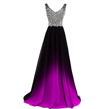 Lemai V Neck Beaded Black Gradient Purple Chiffon Long Prom Evening Dresses US 2